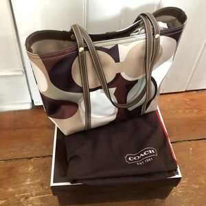 Coach Large Signature Sateen Tote NWOT